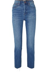 Madewell The Perfect Summer Frayed High Rise Slim Leg Jeans Mid Denim