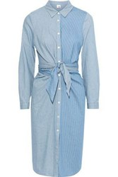 Iris And Ink Woman Tie Front Patchwork Effect Striped Cotton Shirt Dress Light Blue