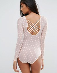 Wolf And Whistle Spot Mesh Lattice Back Body In Blush Blush Pink