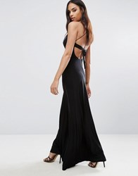 Club L Wrap Front Maxi Dress With Back Detail Black