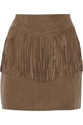 W118 By Walter Baker Riley Fringed Suede Mini Skirt Brown