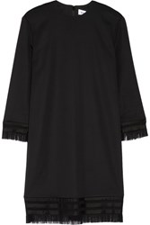 Dkny Fringed Stretch Twill Mini Dress Black