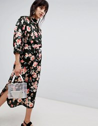 Walter Baker High Neck Floral Print Midi Shift Dress Black