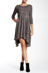 Max Studio 3 4 Length Sleeve Scoop Neck Sharkbite Sweater Dress Brown