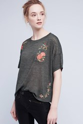 Anthropologie Embroidered Petal Tee Green