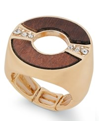Thalia Sodi Gold Tone Crystal And Wood Stretch Ring Only At Macy's Gold Brown Multi