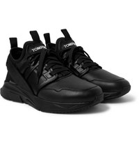 Tom Ford Jago Leather And Neoprene Sneakers Black
