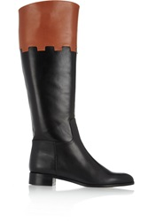 Charlotte Olympia Hansel Leather Knee Boots Black