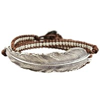 M. Cohen Woven Leather Feather Bracelet Silver