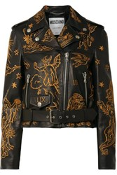 Moschino Embroidered Leather Biker Jacket Black