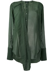 Joseph Military Shirt Women Silk Cotton 36 Green