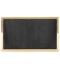 Victoria Beckham Mytheresa.Com Exclusive Hard Metal Lizard Box Clutch Black