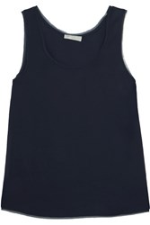 Vince Frayed Chiffon Trimmed Stretch Satin Tank Midnight Blue
