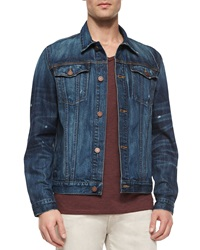 7 For All Mankind Bonzai Woven Denim Jacket Blue