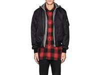 R 13 R13 Men's Layered Look Insulated Bomber Jacket Black