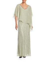 J Kara Beaded Popover Gown Sage Silver
