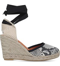 Kg By Kurt Geiger Mimi Leather And Textile Wedge Sandals Beige Oth