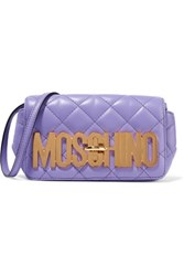 Moschino Quilted Leather Shoulder Bag Violet