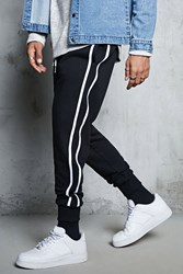 Forever 21 Striped French Terry Joggers Black White