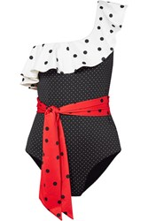 Ganni Prentis One Shoulder Ruffled Polka Dot Swimsuit Black
