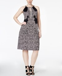 Inc International Concepts Plus Size Lace Print Fit And Flare Halter Dress Only At Macy's New Pale Blush