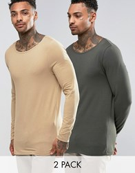 Asos Extreme Muscle Long Sleeve T Shirt With Boat Neck 2 Pack Tan Khaki Multi