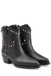 Valentino Western Ankle Boots With Studded Trim