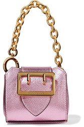 Burberry Metallic Textured Leather Keychain Pink