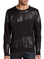 Standard Issue Nyc Spiraling Faux Leather Sweater Black