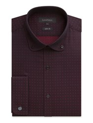 Limehaus Jacquard Slim Fit Long Sleeve Round Collar Shirt Wine