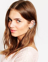 Love Rocks Sparkle Leaf Ear Cuff Black