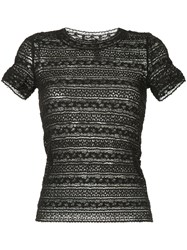 Marc Cain Embroidered Fitted T Shirt Black