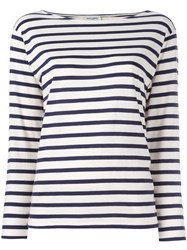 Saint Laurent Breton Stripe T Shirt White