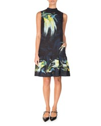 Erdem Nena Bird Print Drop Waist Dress Black Yellow Black Yellow