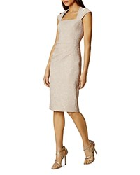 Karen Millen Jacquard Sheath Dress Champagne