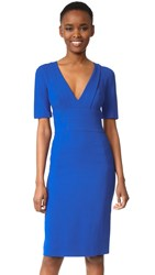Narciso Rodriguez Short Sleeve V Neck Dress Cobalt