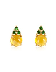 Mia And Beverly Citrine Quartz And Grren Sapphires 18K Rose Gold Earrings Yellow
