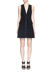 Azzedine Alaia Plunge V Neck Zip Jersey Knit Dress Black