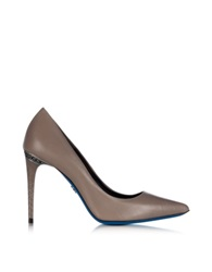 Loriblu Dove Grey Leather Pointed Pump Gray
