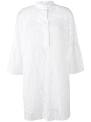Valentino Lace Front Placket Dress White