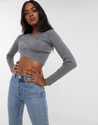 Fashion Union Knitted Cross Over Top Grey