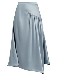 Sies Marjan Gathered Silk Charmeuse Skirt Light Blue