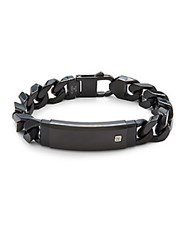Saks Fifth Avenue Polished Stainless Steel Id Bracelet Black