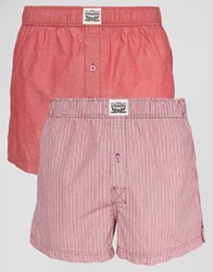 Levi's Levis Chambray Stripe Woven Boxers In 2 Pack Red Red