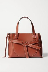 Loewe Gate Mini Topstitched Leather Tote Brown