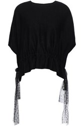 Red Valentino Redvalentino Woman Point D'esprit Trimmed Cashmere And Silk Blend Top Black