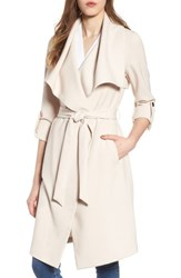 Soia And Kyo Roll Sleeve Drape Front Long Trench Coat Shell