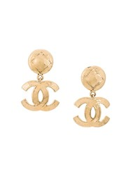 Chanel Vintage Logo Plaque Earrings Metallic