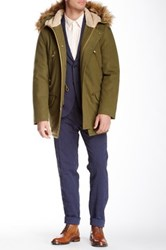 Gant Faux Fur Trim Wool Blend Winter Parka Green