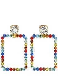 Ca And Lou Cassandra Square Crystal Earrings Multi